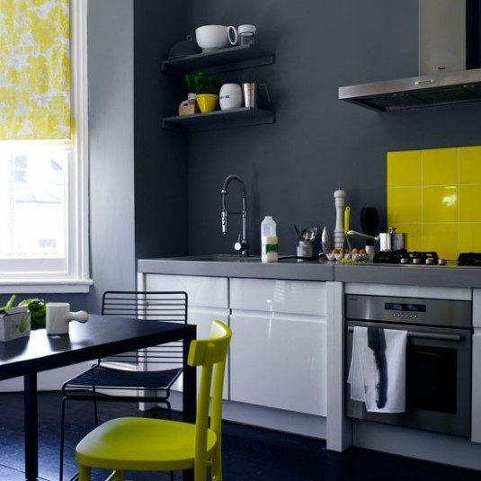 Кухня бело желтого цвета