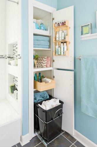 встроенные полки в ванной