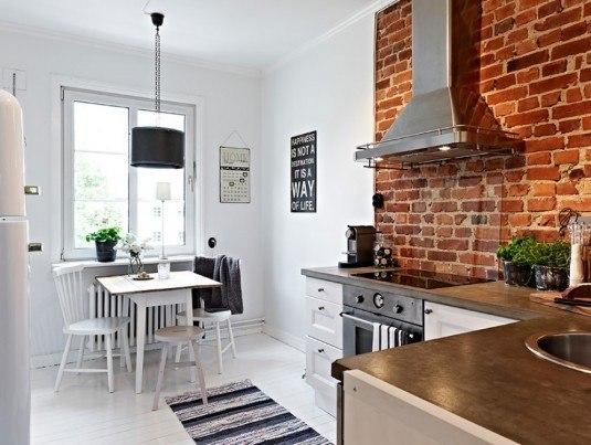 дизайн кухни с кирпичной стеной фото