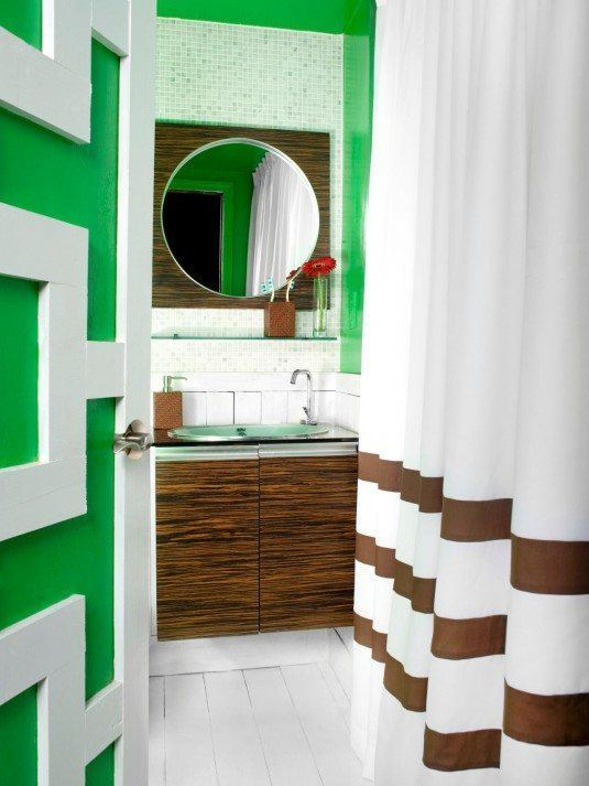 Зеленый цвет в ванной комнате
