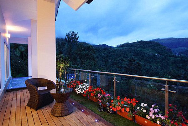 выход балкона сад