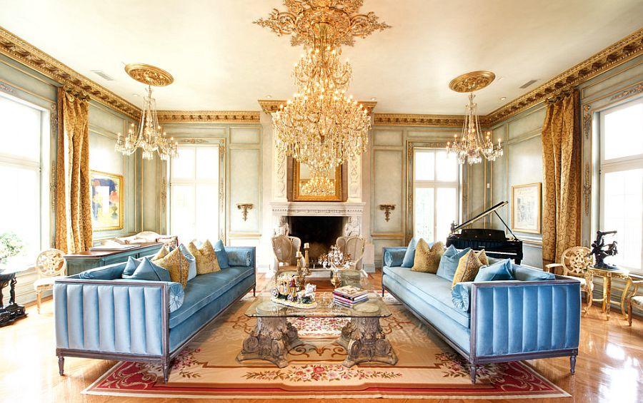 викторианская гостиная золотого цвета