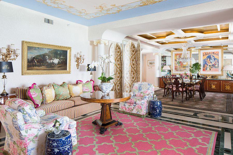 розово синяя гостиная