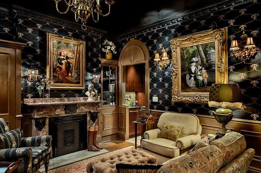 гостиная черная с золотом
