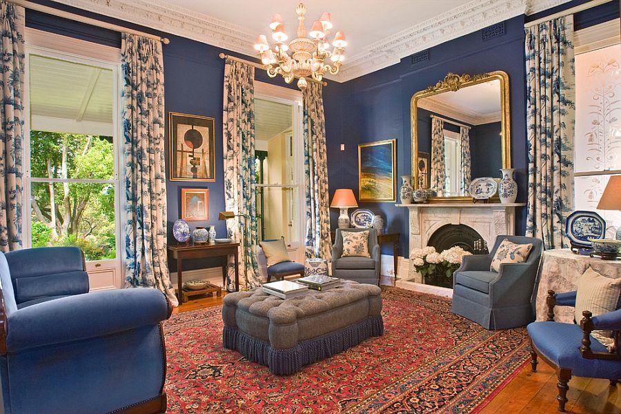сине золотая классическая гостиная