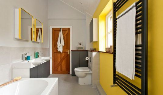 Дизайн ванной комнаты желтого цвета
