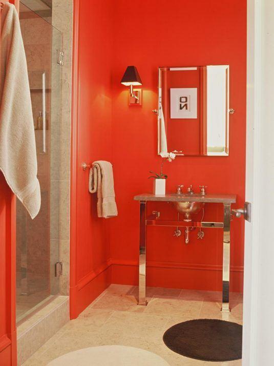 дизайн ванных комнат в красном цвете