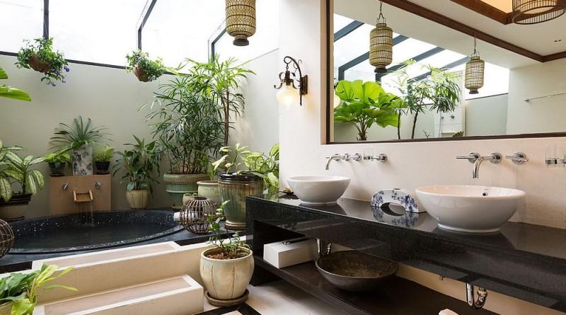 ванная комната в тропическом стиле
