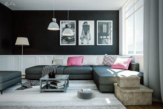 дизайн комнаты в черном цвете фото