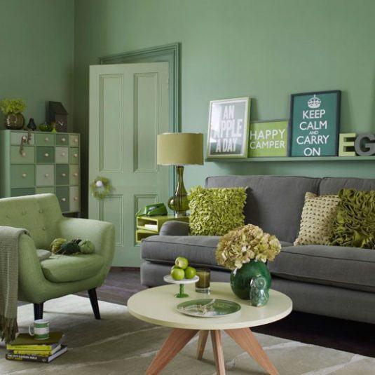 интерьер комнаты в зеленом цвете фото