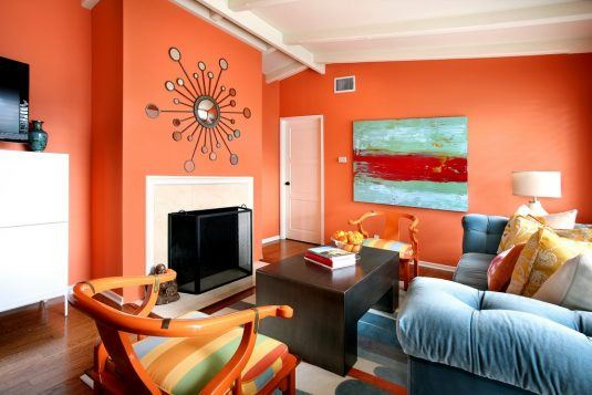 дизайн комнаты в оранжевом цвете фото