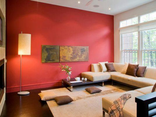 интерьер комнаты в красном цвете фото