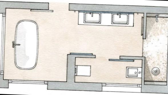 дизайн проект ванной комнаты с окном
