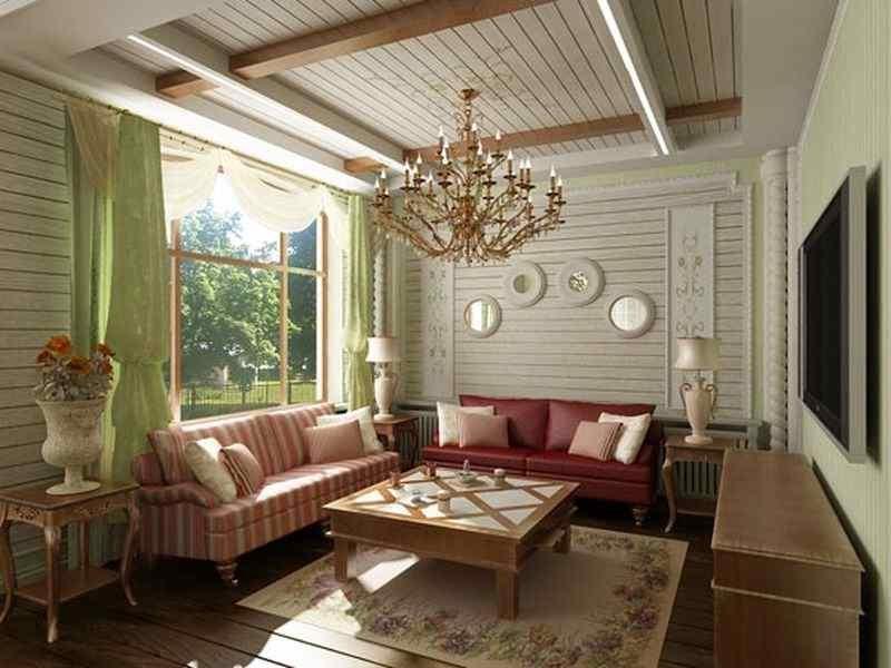 интерьер в стиле прованс фото деревянные стены