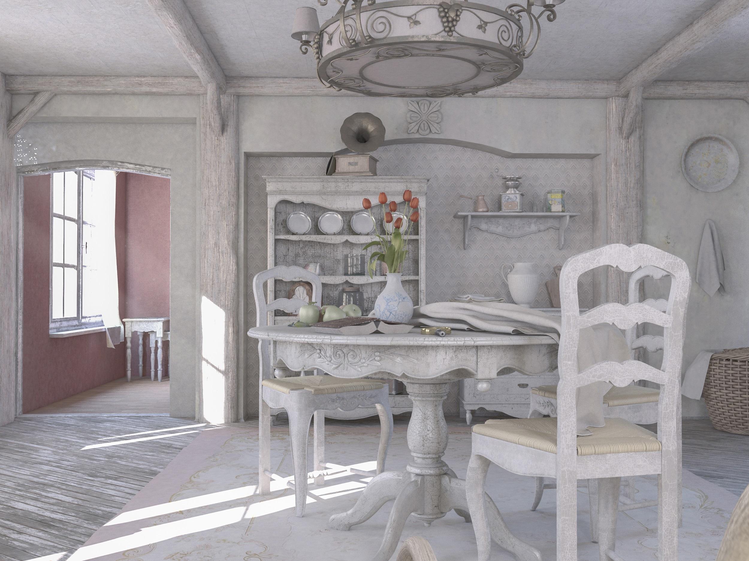стол в интерьере в стиле прованс фото