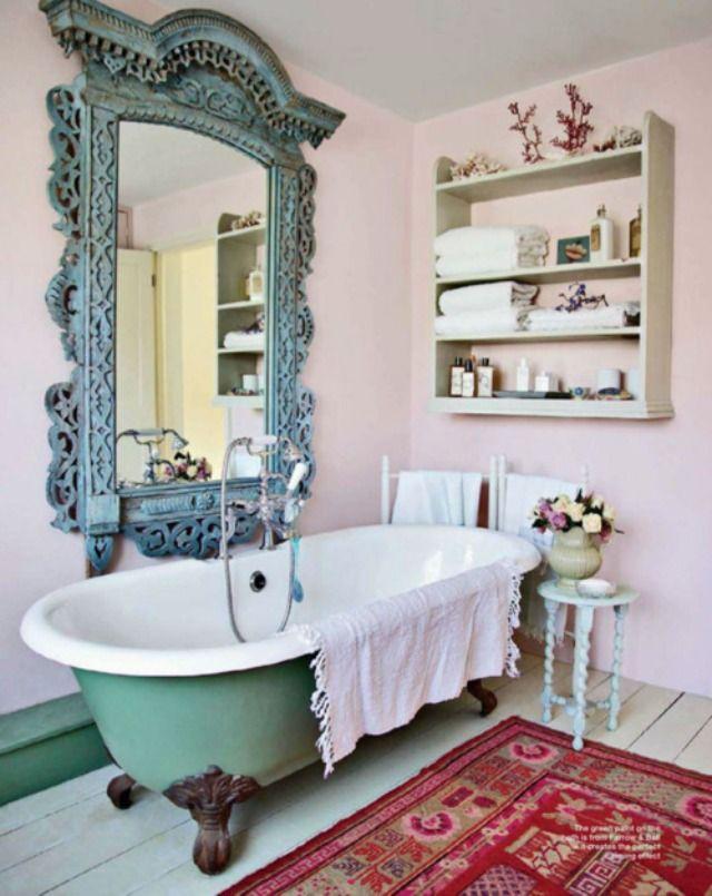 стиль шебби шик в ванной фото