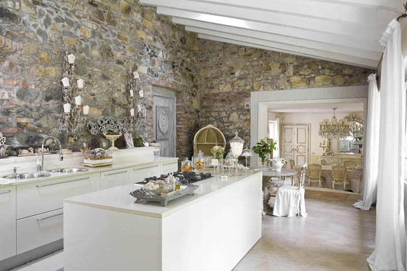 дизайн интерьера кухни в стиле шебби шик фото