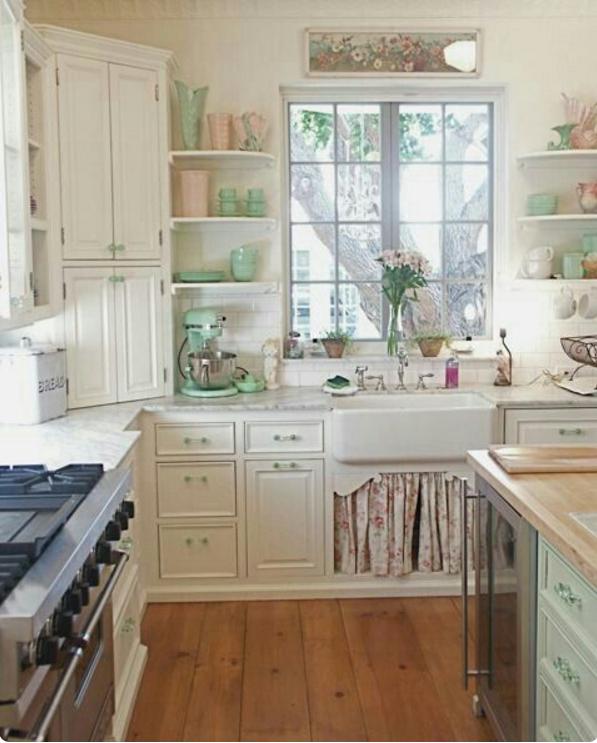 дизайн интерьера кухни в стиле шебби шик