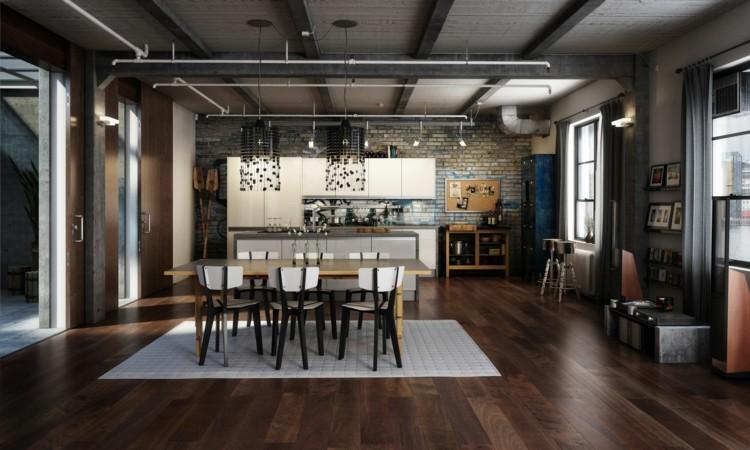 кухня в стиле лофт фотографии