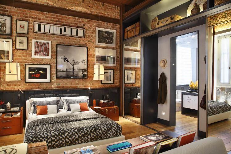 спальня в стиле лофт фотографии