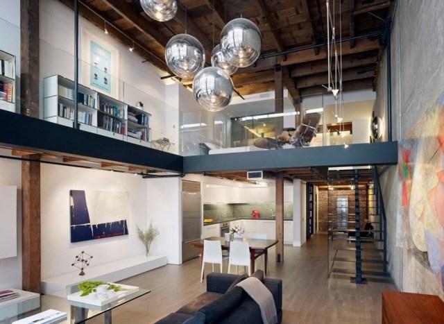 двухуровневая квартира в стиле лофт фото