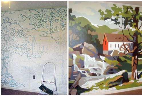 перенос рисунка на стену по квадратам
