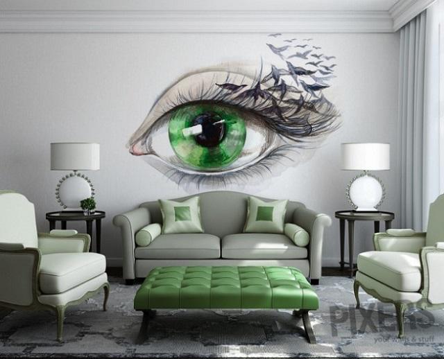 рисунки на стенах в гостиной фото