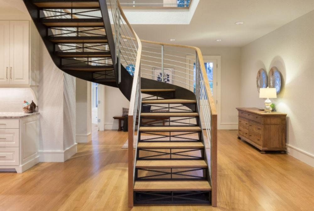 интерьер гостиной с лестницей