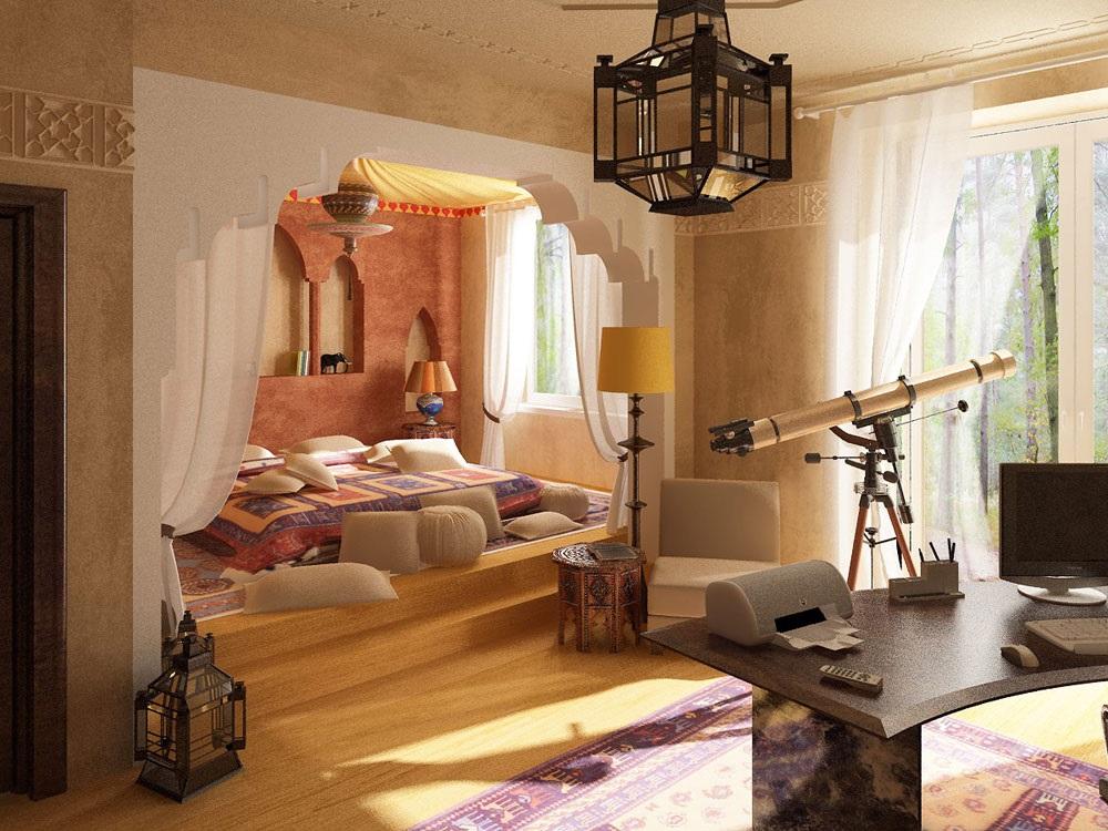 интерьер спальни в марокканском стиле фото