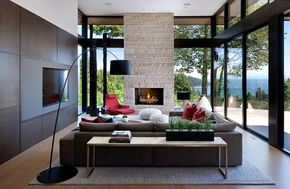 комната с камином в стиле модерн