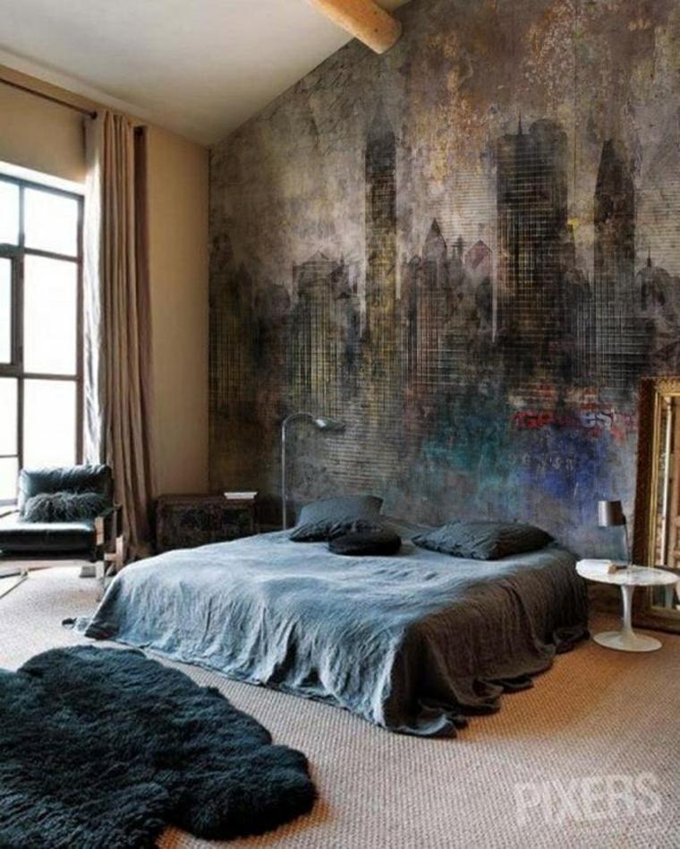 дизайн спальни в стиле гранж