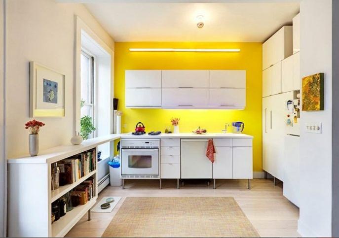желтые стены на кухне фото