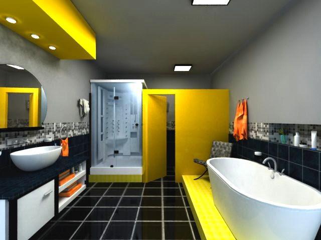 чорно-жовта ванна кімната