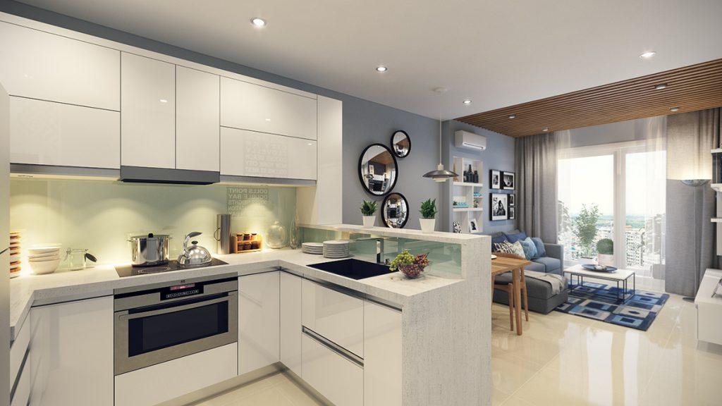 кухня студія з барною стійкою фото