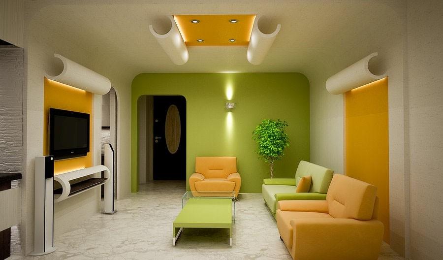 поєднання зеленого і оранжевого кольору в інтер'єрі