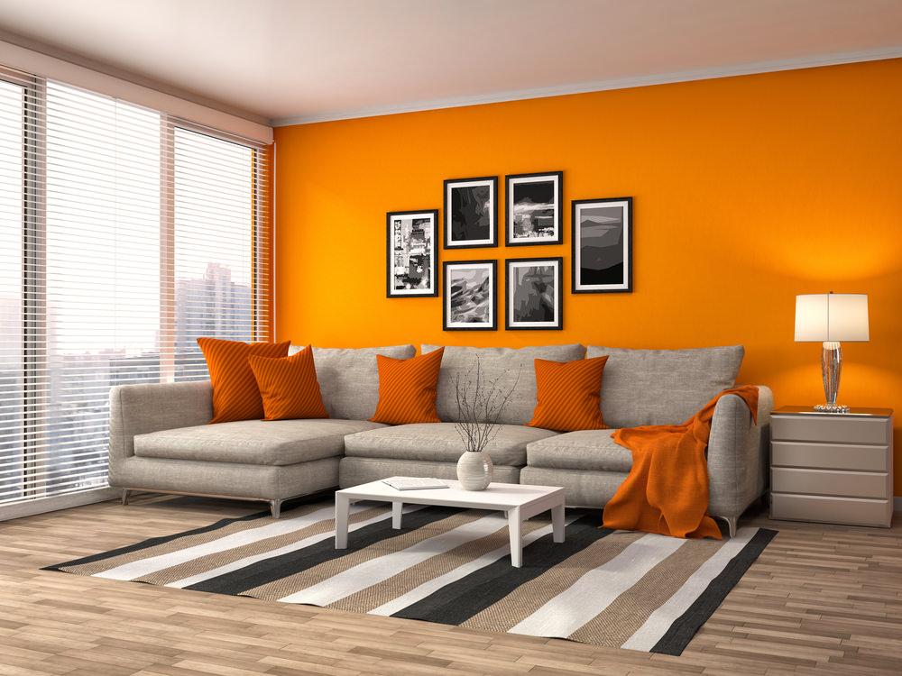 помаранчеві стіни в інтер'єрі