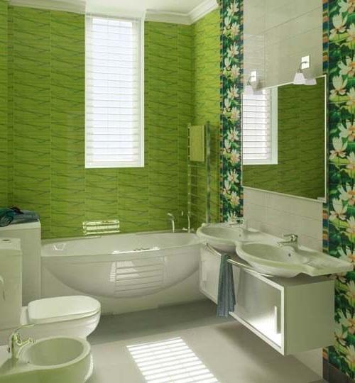 ванна кімната в салатових тонах