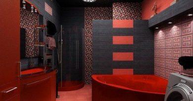 ванная комната в красно-черном цвете фото