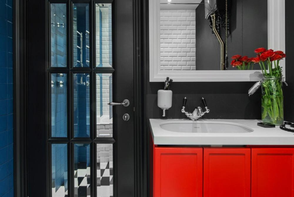 черно красная ванная комната фотографии