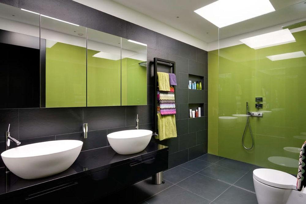 чорно-зелена ванна кімната