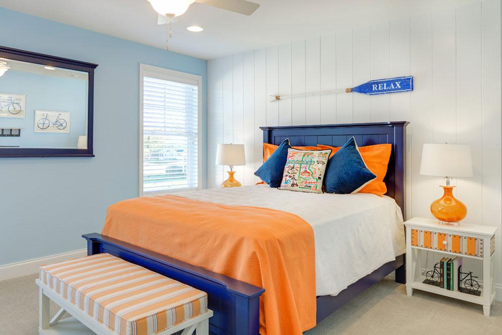 помаранчевий колір в інтер'єрі спальні фото