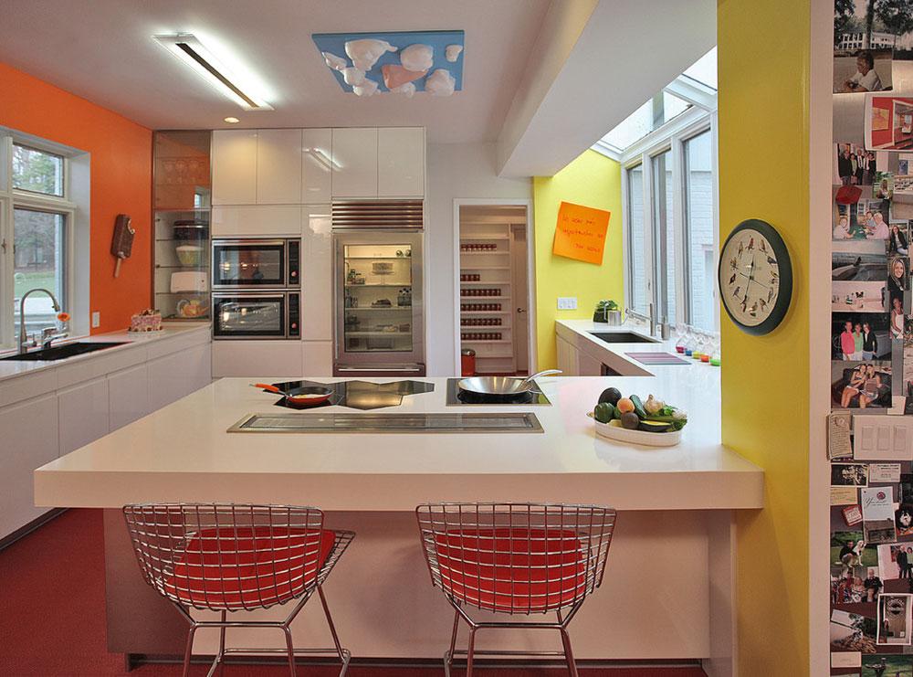 помаранчевий колір в інтер'єрі кухні фото