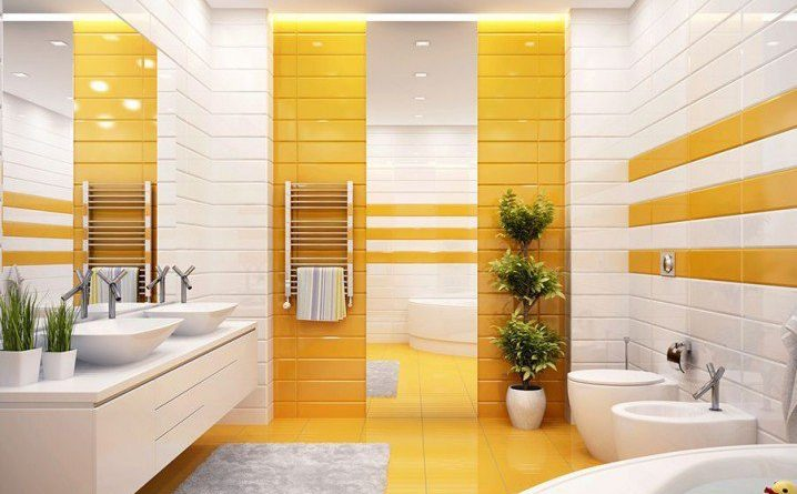 желтая ванная комната фото