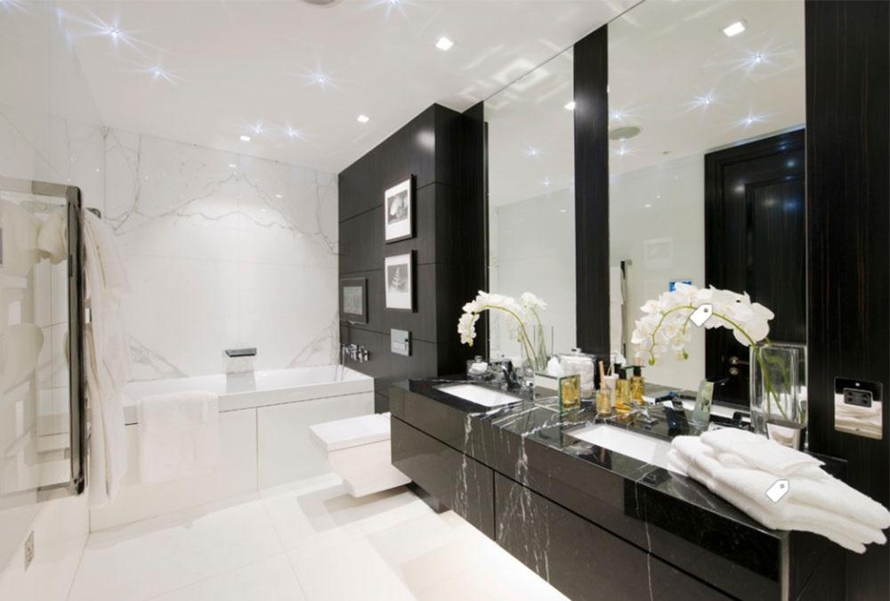 чорно-біла ванна кімната фото