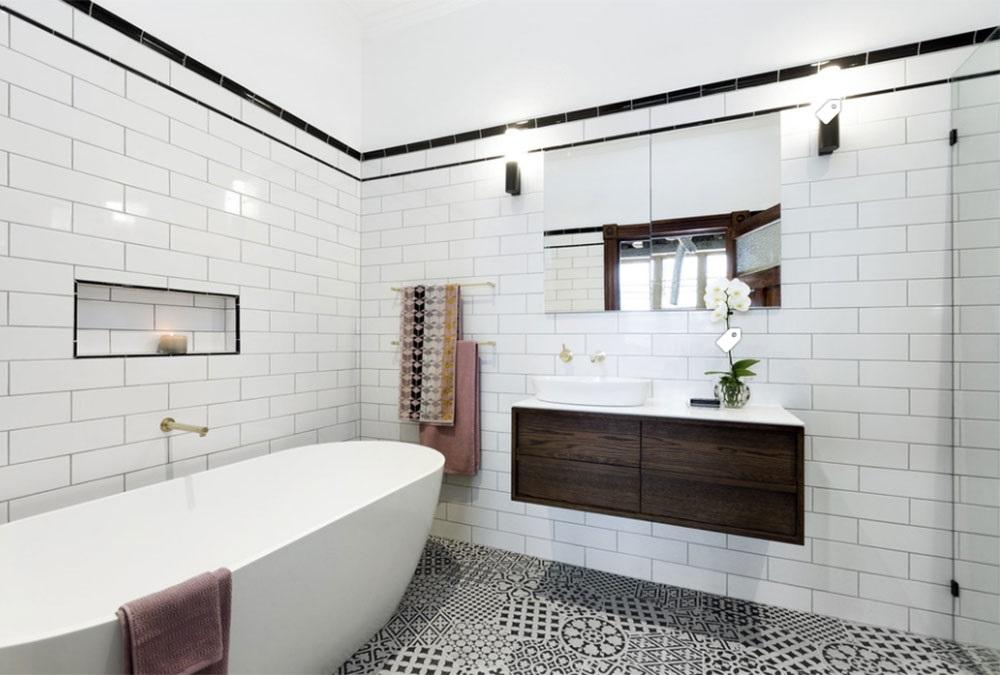 дизайн чёрно-белой ванной комнаты фото