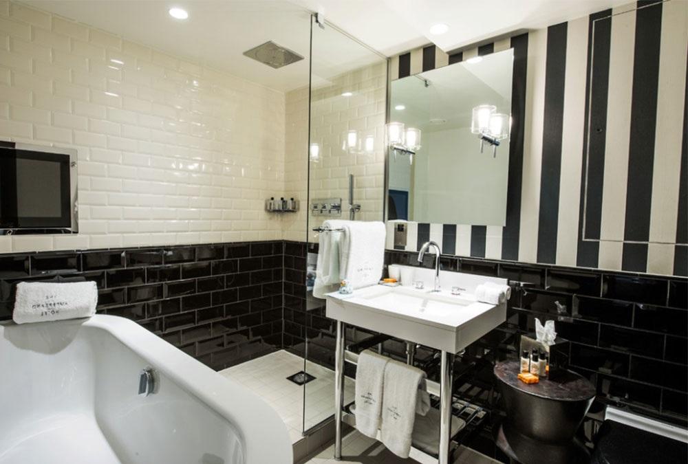 дизайн ванной комнаты в черно-белом цвете фото