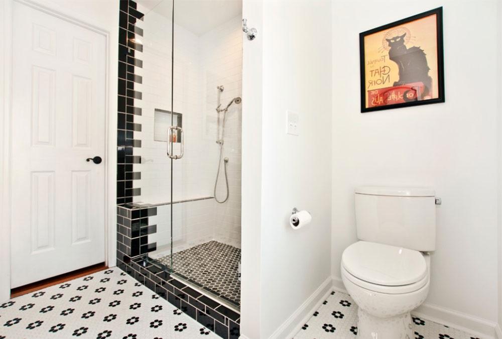 ванна кімната чорно біла плитка