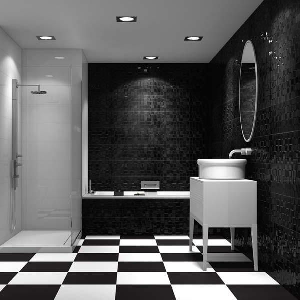 шахматный пол в ванной фото