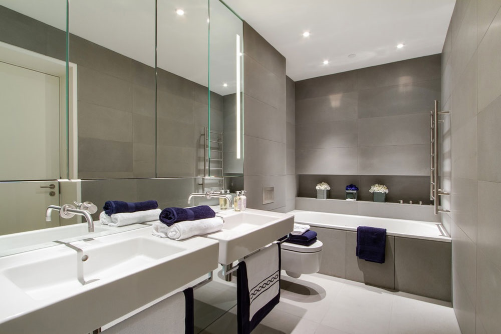 светло серая ванная комната фото