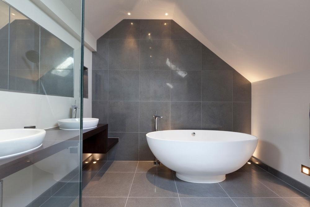 серые ванные комнаты